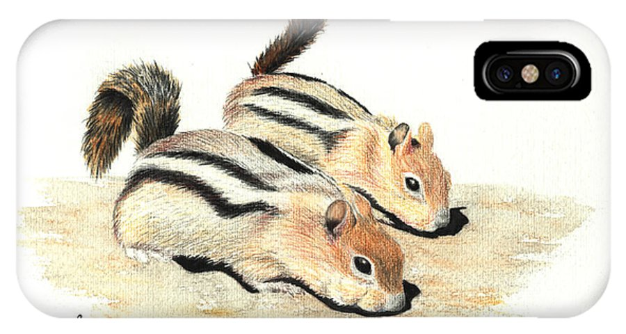 Nature IPhone X Case featuring the painting Golden-mantled Ground Squirrels by Lynn Quinn
