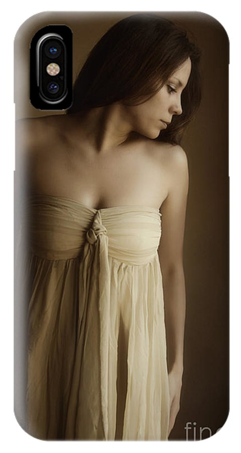 Caucasian; Woman; Lady; Female; Pretty; Beautiful; Brunette; Gold; Golden; Dress; Prim; Proper; Feminine; In Thought; Thinking; Sad; Dark; Darkness IPhone X Case featuring the photograph Golden by Margie Hurwich