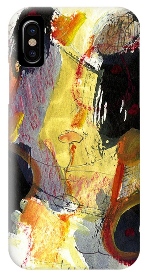 Abstract Art IPhone X / XS Case featuring the painting Golden Moon by Stephen Lucas