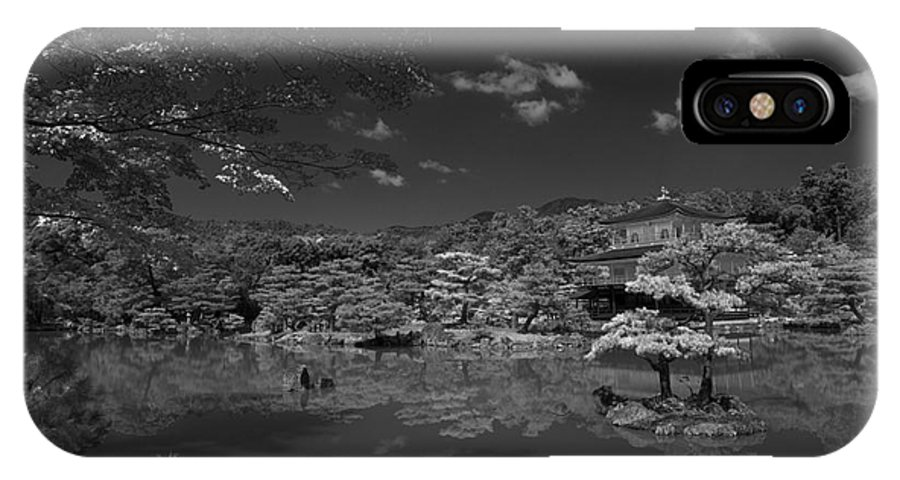 Infrared IPhone X Case featuring the photograph Golden Pavilion In Infrared by David Bearden