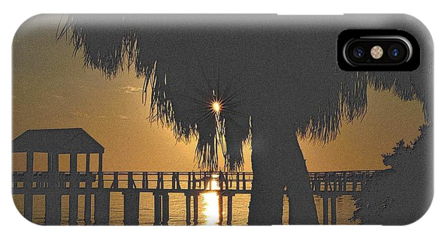 Florida IPhone X Case featuring the drawing Golden Pier by Richard Zentner