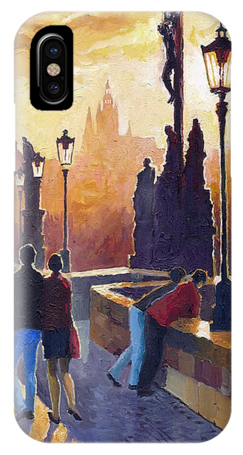 Oil On Canvas IPhone X Case featuring the painting Golden Prague Charles Bridge by Yuriy Shevchuk