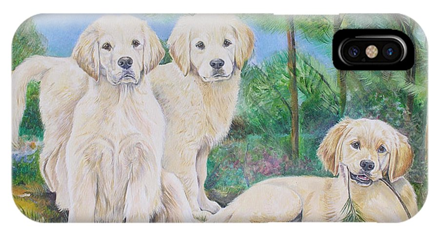 Puppy IPhone X Case featuring the painting Golden Retriever Puppy Trio by Gail Dolphin