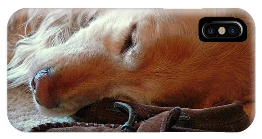 Golden Retriever IPhone X Case featuring the photograph Golden Retriever Sleeping With Dad's Slippers by Jennie Marie Schell
