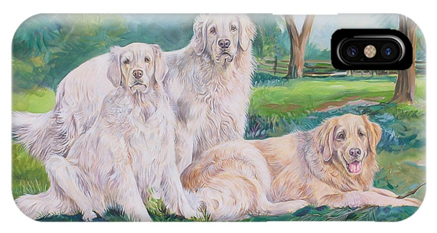Golden Retriever IPhone X Case featuring the painting Golden Retriever Trio by Gail Dolphin