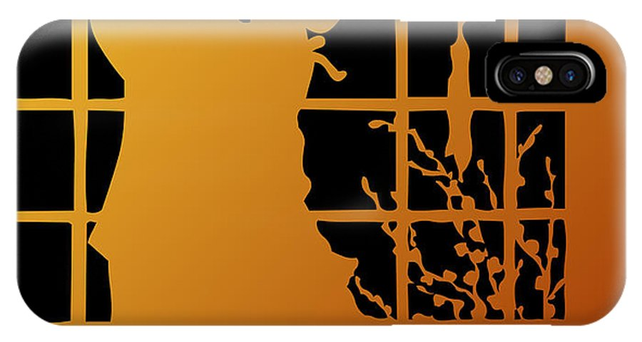 Couples IPhone X Case featuring the digital art Golden Silhouette Of Couple Embracing by Rose Santuci-Sofranko