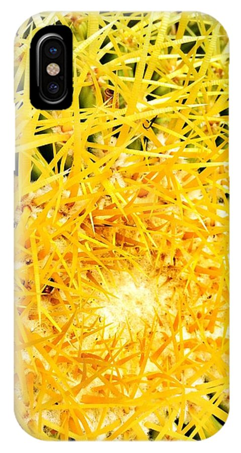 Cactus IPhone X Case featuring the digital art Golden Spines by Olivier Calas