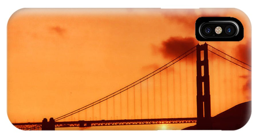 Golden Gate IPhone X Case featuring the photograph Golden Sunset 1 by Lidia Anderson