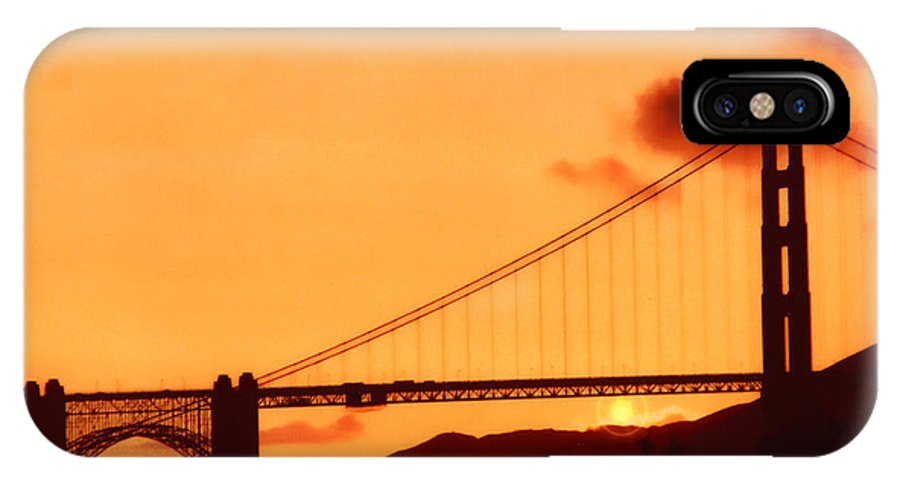 Golden Gate IPhone X Case featuring the photograph Golden Sunset 2 by Lidia Anderson