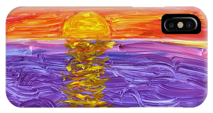 Seascape IPhone X Case featuring the painting Golden Sunset 2 by Mickey Krause