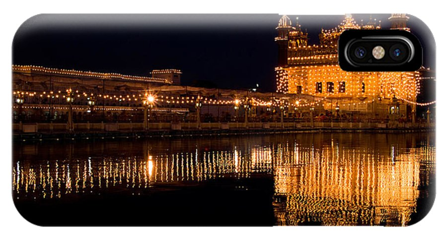 Golden Temple IPhone X Case featuring the photograph Golden Temole Landscape At Night by Devinder Sangha