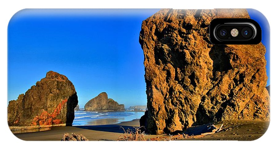 Bandon Beach IPhone X Case featuring the photograph Golden Towers Of Bandon by Adam Jewell