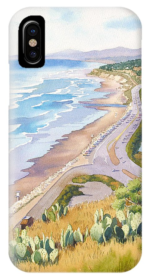 Pacific Coast Highway IPhone X Case featuring the painting Golden View From Torrey Pines by Mary Helmreich