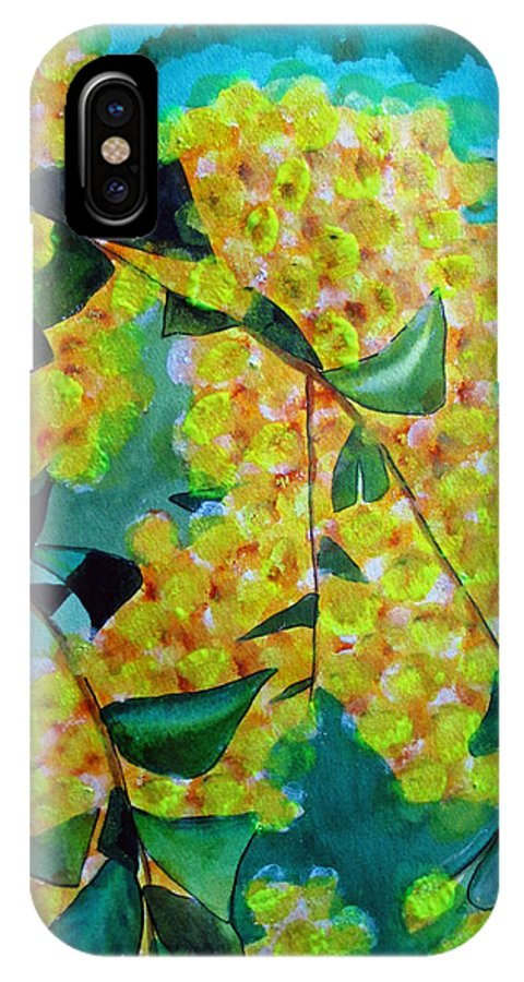 Wattle IPhone X Case featuring the painting Golden Wattle by Sacha Grossel
