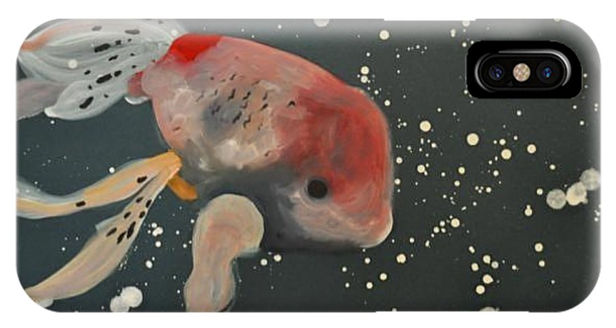Fish IPhone X Case featuring the painting Goldfish In Eternity by Moray Slabbert