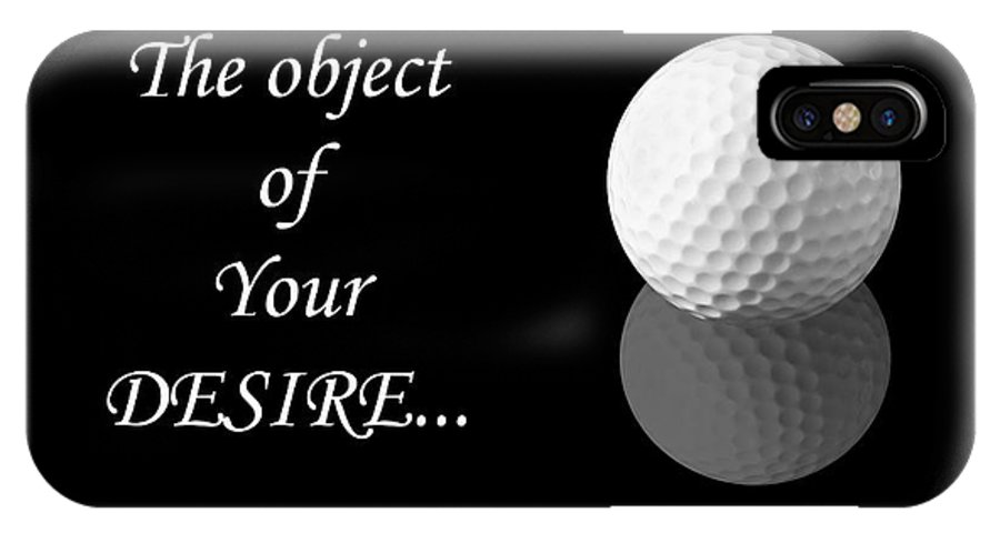 Ball IPhone X Case featuring the photograph Golf Ball On Black by Sylvie Bouchard