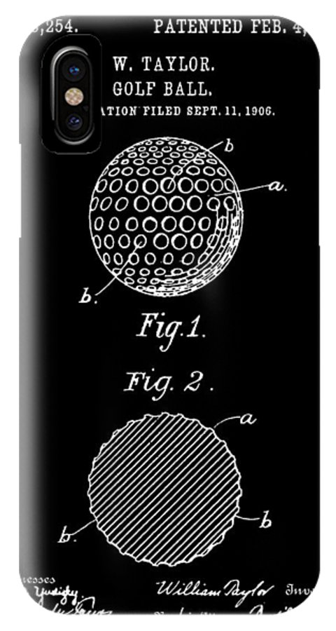 Golf IPhone X Case featuring the digital art Golf Ball Patent 1906 - Black by Stephen Younts