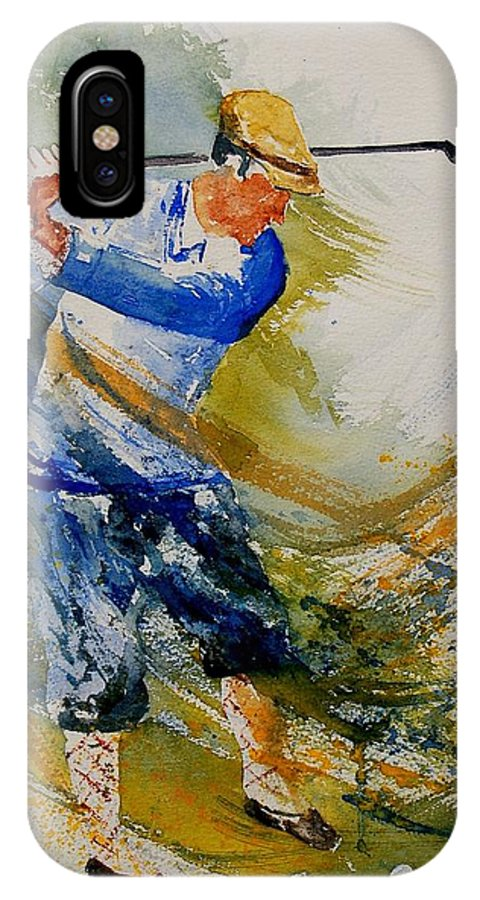 Golf IPhone X Case featuring the painting Golf Player by Pol Ledent