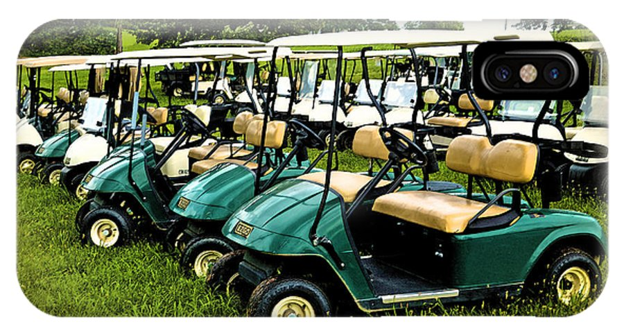 Golf Cart IPhone X Case featuring the photograph Golfers Take Your Pick by Sandi OReilly