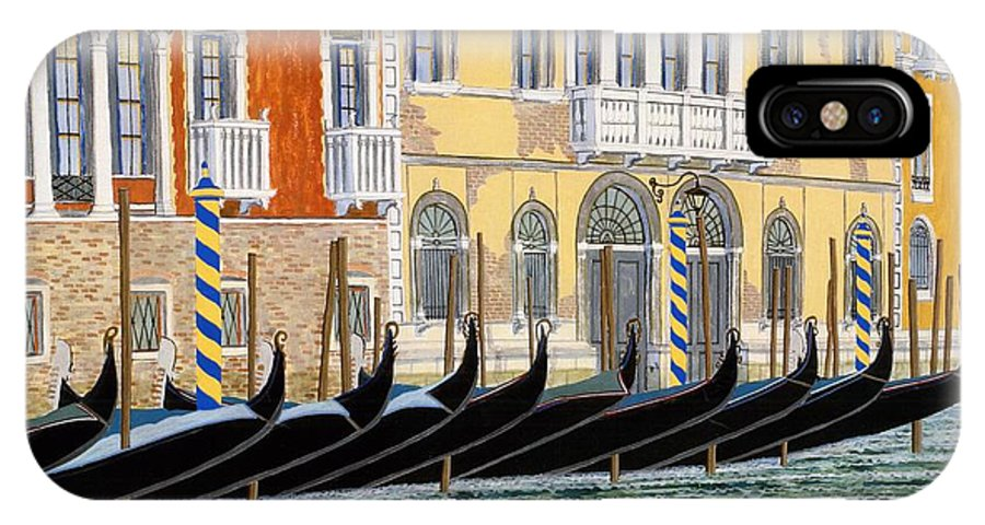 Landscape IPhone X Case featuring the painting Gondolas On The Grand Canal by David Hinchen