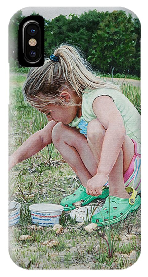 Child IPhone X Case featuring the painting Gone Fishing by Emily Land
