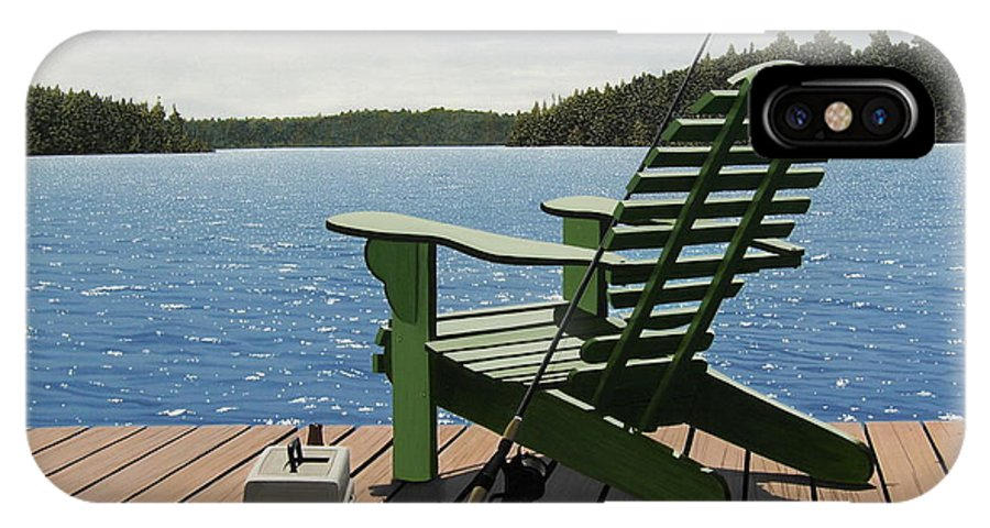 Landscapes IPhone X Case featuring the painting Gone Fishing Aka Fishing Chair by Kenneth M Kirsch