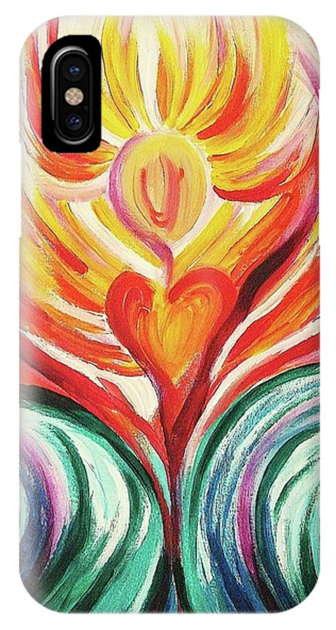 Orange IPhone X Case featuring the painting Good News by Suzanne Marie Leclair