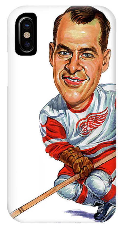 Hockey IPhone X Case featuring the painting Gordie Howe by Art