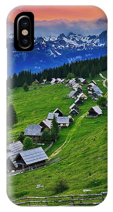 Nobody IPhone X Case featuring the photograph Goreljek Shepherding Village In Alpine by Johnathan Ampersand Esper