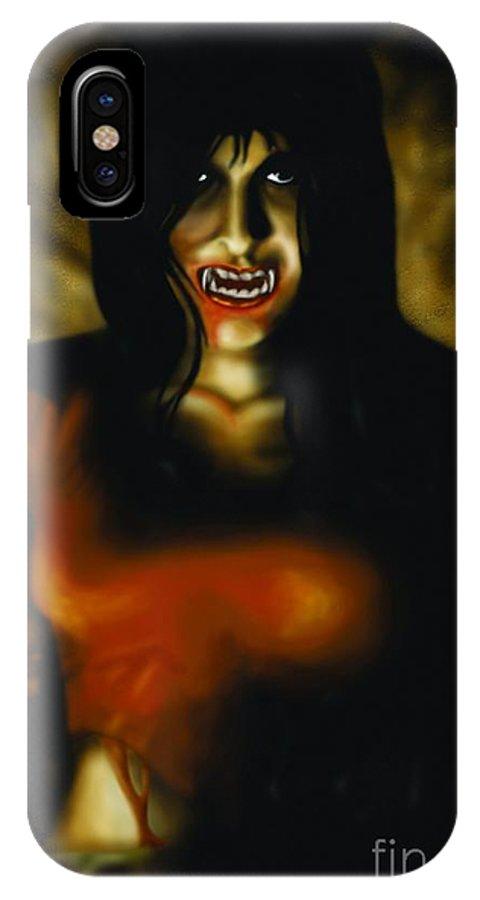 Vampire IPhone X Case featuring the digital art Got Blood by Vassilis Anastassakis