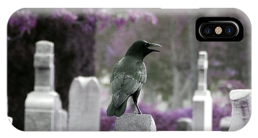 Crow IPhone X Case featuring the photograph Gothic Purple by Gothicrow Images