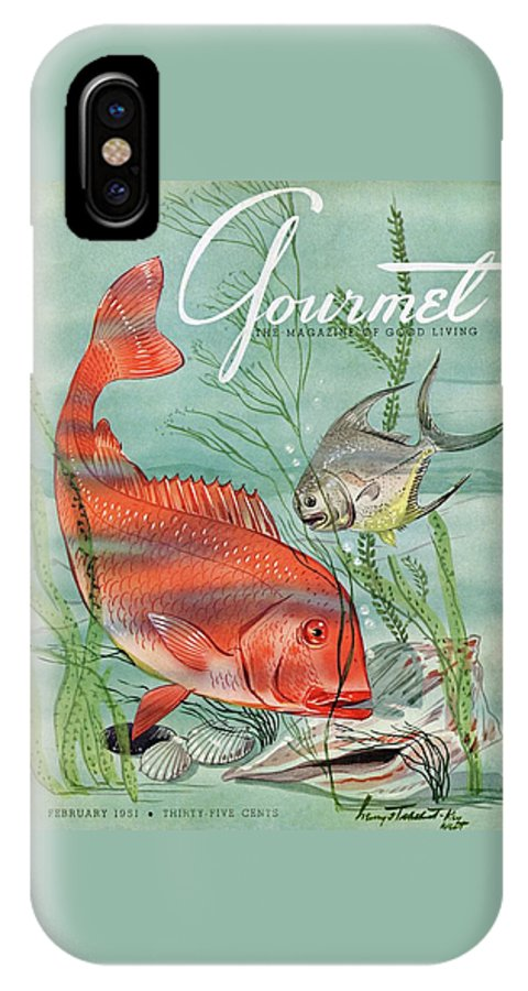 Illustration IPhone X Case featuring the photograph Gourmet Cover Featuring A Snapper And Pompano by Henry Stahlhut