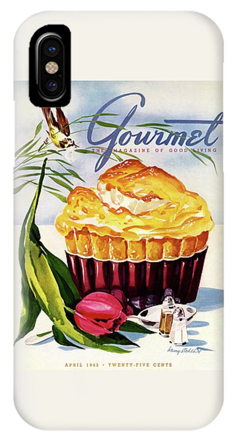 Illustration IPhone X Case featuring the photograph Gourmet Cover Illustration Of A Souffle And Tulip by Henry Stahlhut