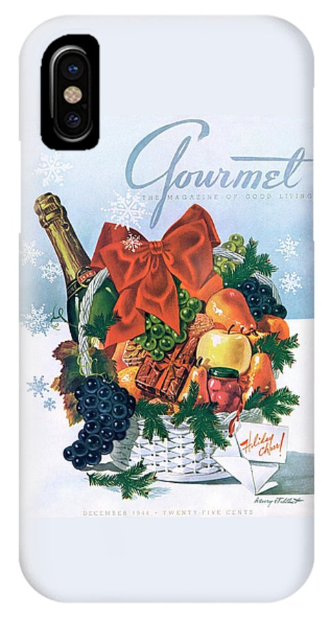 Food IPhone X Case featuring the photograph Gourmet Cover Illustration Of Holiday Fruit Basket by Henry Stahlhut