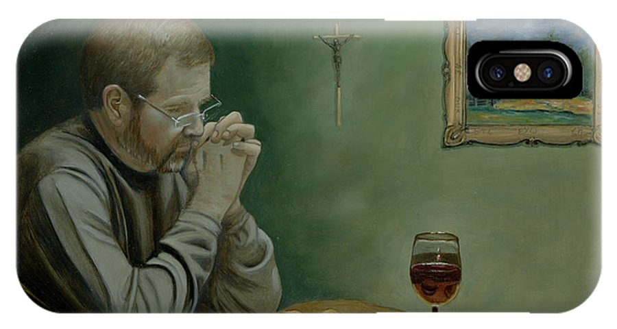 Original Oil Painting On Masonite Of Jeff Cavins Sitting At A Table Praying Grace Before A Meal Glass Of Wine Bread Crucifix Bible This Daily Bread Secrets On Painting Cecilia Brendel Jesus Christ Rosary Prayer God Italian Art Red Wine Jeff Scott Bible Time Line IPhone X Case featuring the painting Grace by Cecilia Brendel