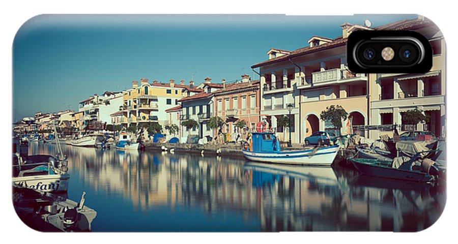 Grado IPhone X Case featuring the photograph Grado Harbor by Hannes Cmarits