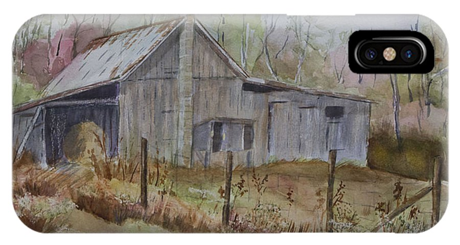 Watercolor IPhone X Case featuring the painting Grady's Barn by Janet Felts