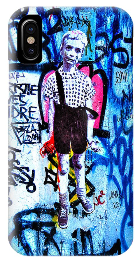 Child With Toy Hand Grenade IPhone X Case featuring the photograph Graffiti Rendition Of Diane Arbus's Photo - Child With Toy Hand Grenade In Central Park by Randy Aveille