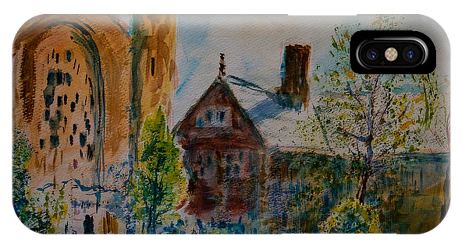Watercolor IPhone Case featuring the painting Graham Chapel Morning Effect by Horacio Prada