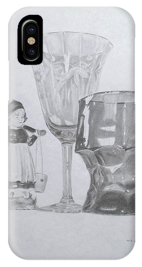 Glassware IPhone X Case featuring the drawing Grammas Glasses by Mary Ellen Mueller Legault