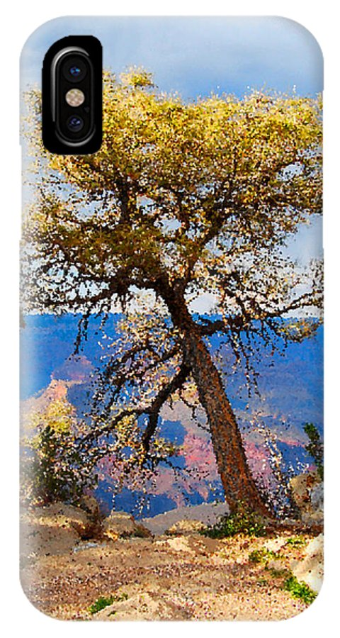 Grand Canyon IPhone X Case featuring the digital art Grand Canyon National Park And Tree by Eva Kaufman