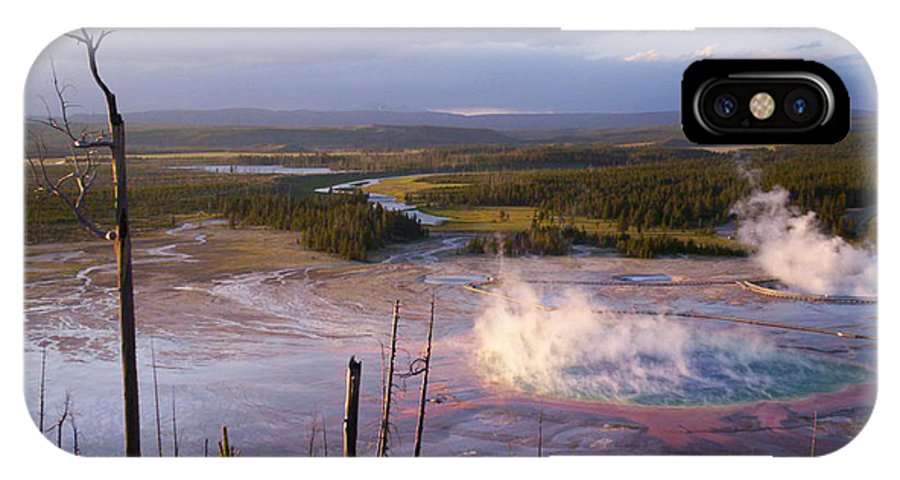 Yellowstone National Park IPhone X Case featuring the photograph Grand Prismatic At Dusk by Jon Emery