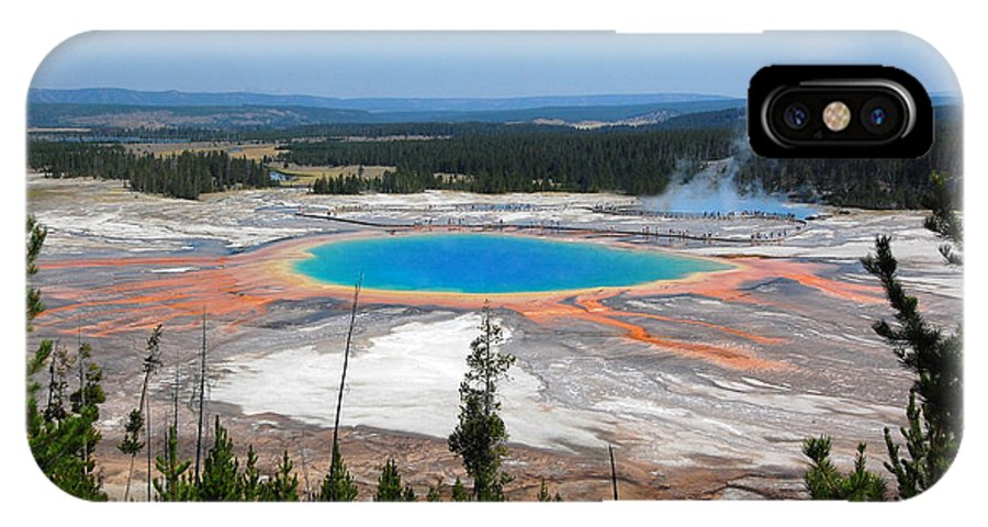 Yellowstone National Park IPhone X Case featuring the photograph Grand Prismatic Spring From Above by Debra Thompson