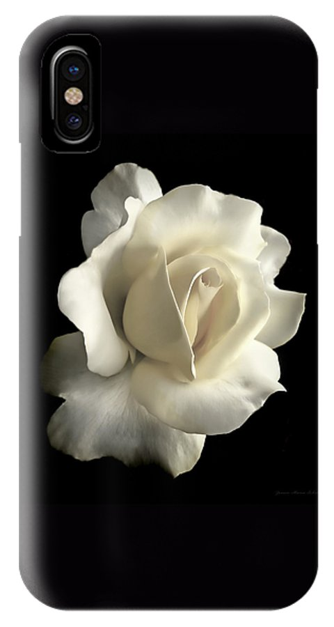 Rose IPhone X Case featuring the photograph Grandeur Ivory Rose Flower by Jennie Marie Schell