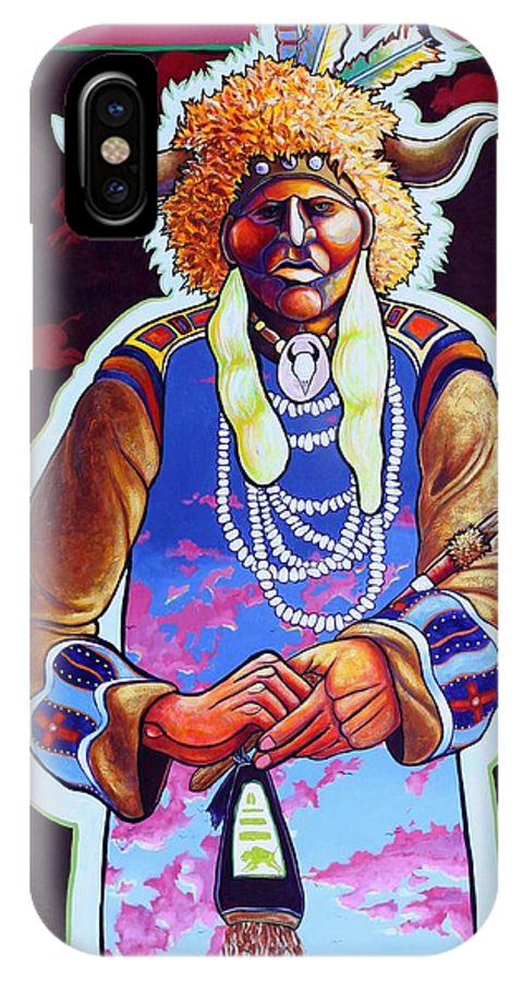 Spiritual Message IPhone Case featuring the painting Grandfather Becomes His Medicine by Joe Triano