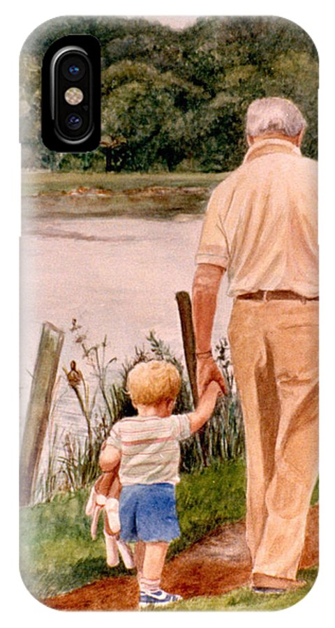 Landscape IPhone X Case featuring the painting Little Boy And Grandpa In Park by Phyllis Tarlow