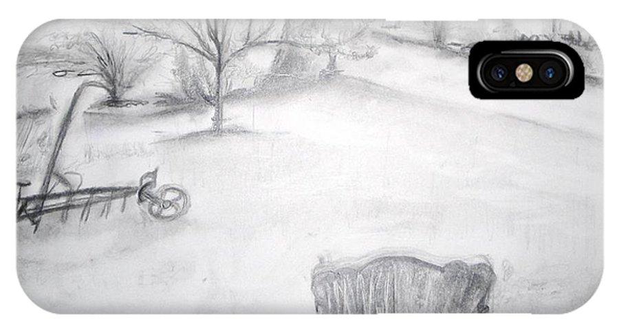 Grandfather's Backyard IPhone X Case featuring the painting Grandpa's Backyard II by Helena Bebirian