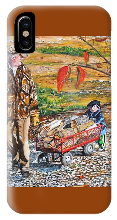 Grandpa IPhone X Case featuring the painting Grandpa's Helper by Marilyn McNish