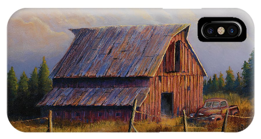Barn IPhone Case featuring the painting Grandpas Truck by Jerry McElroy