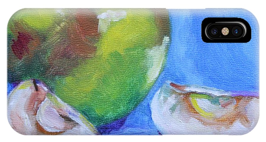 Apples IPhone X / XS Case featuring the painting Granny And Friends by Jan Bennicoff